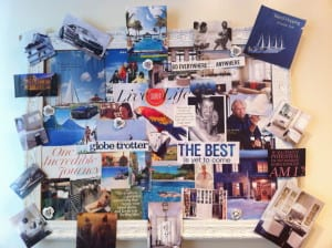 My vision board in my kitchen in 2012. Nothing much has changed for today except I want less things like a fancy car, and life with partner has ended to open a new door to a new beginning. Notice that there are no cubicles :)